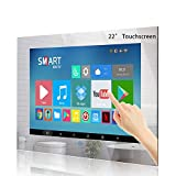 Haocrown 22 Inch Touchscreen Smart Mirror TV for Bathroom, IP66 Waterproof Android Television Built-in Wi-Fi Bluetooth Waterproof Speakers HDMI USB (Touchscreen, Mirror Frame)