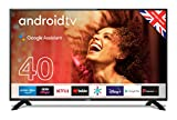 """Cello ZG0204 40"""" Smart Android TV with Freeview Play, Google Assistant, Google Chromecast, 3 x HDMI and 2 x USB Made in the UK 2020 model, Black"""