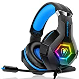Gaming Headset Stereo Surround Sound Gaming Headphones with Breathing RGB Light & Adjustable Mic for PS4 PC Xbox One(S/X) Laptop Mac