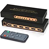 4K@60Hz HDMI Switch 5 Port Awakelion 5 In 1 Out HDMI Switcher with IR Remote Support Auto-switch ,HDCP 2.2,UHD,HDR,Full HD/3D