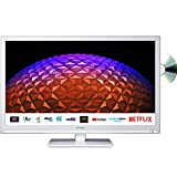 Sharp 1T C24BE0KR1FW 24 Inch Smart TV, HD Ready LED Display with DTS Studio Sound, Dolby Digital Audio, 2x HDMI 2x USB, Built-in DVD Player, Freeview Play and Wireless Streaming -White