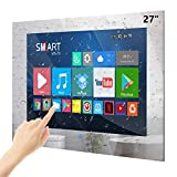 Haocrown 27-inch Touch Screen Smart Bathroom TV With IP66 Waterproof Smart Mirror TV Android 9.0 System Full-HD LED Televions Built-in Satellite Tuner Wi-Fi Bluetooth Waterproof Speakers(2021 Model)