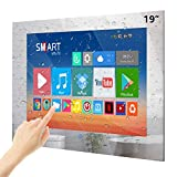 Haocrown 19-inch Touchscreen Smart Mirror Bathroom TV With IP66 Waterproof LED TV Android 10.0 System Built in Freeview Satellite Tuner Wi-Fi Bluetooth Waterproof Speakers(2021 Model)