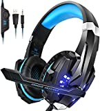 PS4 Headset, INSMART PC Gaming Headset Over-Ear Gaming Headphones with Mic LED Light Noise Cancelling & Volume Control for Laptop Mac New Xbox One PS4 (3.5mm Splitter Cable Included)