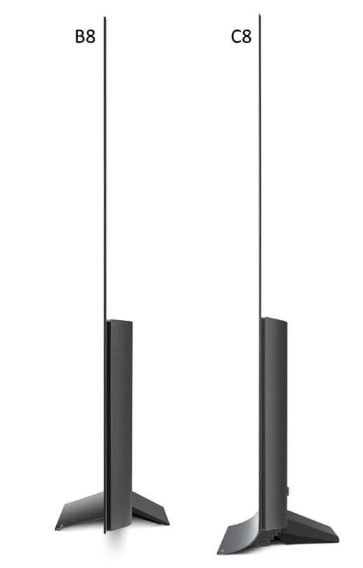 LG OLED B8 vs C8 difference 2018 oled 4k tv side